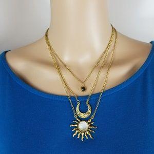 Jewelry - Layered Moonstone GOLD BLACK Rhinestone Necklace